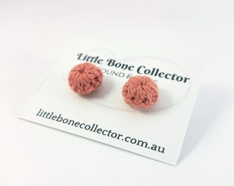 Orange Papaya crochet button earrings, Surgical steel studs - Glue free