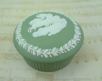 Wedgwood Sage Green Jasperware Fluted Trinket Box //  Angel Horses Chariot Clouds // jewelry // lid