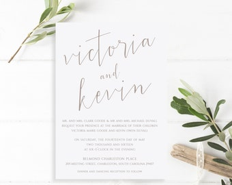 Printable Wedding Invitation Suite | The Victoria Collection in Taupe & White or Custom Colors | DIY | PDF or Printed Invites