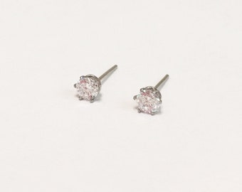 Clear Crystal (4mm) with Silver Stainless Steel Post Stud Earrings(ERN-25),316L Surgical Steel, Small Earrings, Silver Crystal Earrings