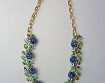 50s Cornflower Chain Necklace