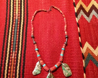 Captivating Coral and Turquoise Bead and Stone Necklace