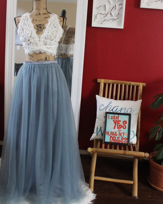 Slate Blue Long maxi tulle skirt Dusty Blue tulle skirt floor