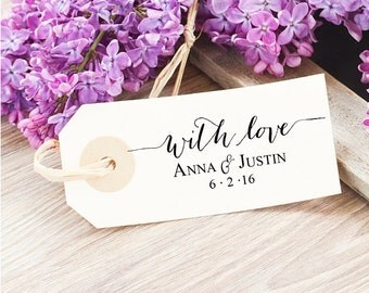 With Love Wedding Favor Tag Stamp - Wedding Thank You Tag - Personalized Wedding Stamp - With Love Gift Tag Stamp - Bridal Shower Gift Tag