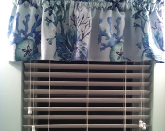 Sealife Window Valance-Tropical Curtains-Coastal Curtains-Beach Curtains-Lake Curtains-Nautical Curtains-Island Decor