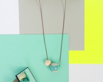 Bold ceramic bead necklace // Antique cooper chain necklace with ceramis and wooden bead // turquois ceramic bead //