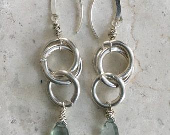 "Moss Aquamarine ""Halo"" Earrings"