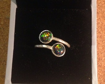 Black Opal Double Stone Ring