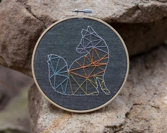 Geometric Fox Embroidery Hoop Art, Modern Home Decor, Wall Decor, Original Design, Unique gift.