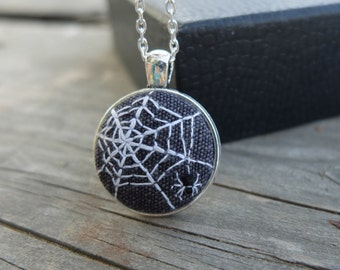 Spider Web Necklace,Halloween Jewelry,Black Spider Pendant,Web Jewellery,Hand Embroidered,Spider cameo,Black White Goth Halloween gift