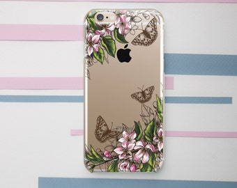 Butterfly Phone Case iPhone 6 Case iPhone 6S Case iPhone 6 Plus Case Flower iPhone SE Case Clear Floral iPhone 5s Case iPhone 4 Case OC_033