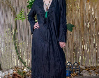 Black Kaftan maxi dress - Long sleeve black Kaftan dress with a black embroidery - 100% cotton
