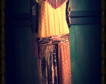 "Autumn Colors Flapper-style ""Downton"" Dress - in rich velvet - ReCycled/ReCreated for a New Life"