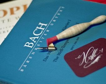 Calligraphy pen : Oblique penholder, Curly Maple Cigar