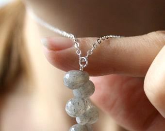 Sterling Silver Labradorite Necklace Gemstone . Labradorite Pendant Necklace . Semi Precious Gemstone Necklace - Mako Collection