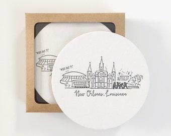 Letterpress French Quarter, New Orleans Skyline Coasters