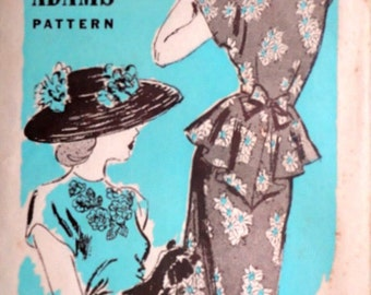 Vintage 1940's 40's Anne Adams 4881 Sewing Pattern, Cascade Peplum Dress With Embroidery Transfer, Size 12, 30 Bust