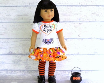 American Girl Doll Halloween Dress, 18 inch Doll Clothes, Upcycled Tee Shirt Dress