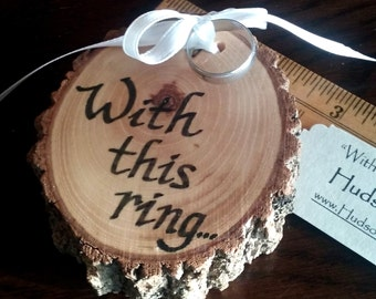 RUSTIC RING BEARER Pillow Personalized Ring Bearer Pillow Wedding Wood Slices With this Ring Engagement Ring Holder Custom Wood Ring Bearer