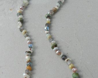 Genuine Peruvian Opal,  Aquamarine, Amazonite, Pearl, Silverite, Crystal--Hand Knotted Mixed Gem Necklace--Handmade Artisan Jewelry