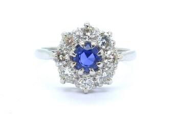 Art Deco Platinum Sapphire Diamond engagement ring Halo flower daisy cluster daisy 1920's Antique Anniversary ring Something Blue FREE SHIP