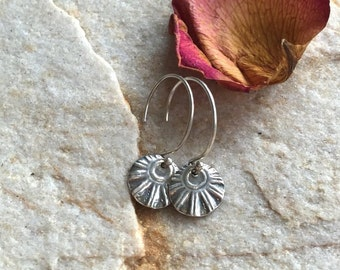 Silver Sun Earrings-Rustic Wedding Jewelry-Anniversary Gifts for Her-Hand Stamped Silver