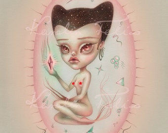 Sancta Bacteria - signed 8x10 Fine Art Print - Pop Surrealism lowbrow art by KarolinFelix - open edition, unframed