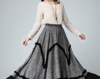 mothers day gift,maxi skirts long, linen skirt, layered skirt, grey skirt, womens skirts, party skirt, ruffle skirt,elastic waist skirt 1479