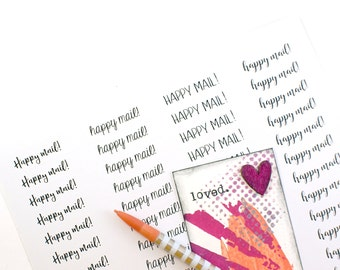 HAPPY MAIL Labels - 1/2 x 1 3/4 happy mail stickers printed on clear, kraft brown, or white - packaging, penpal letters, stationery