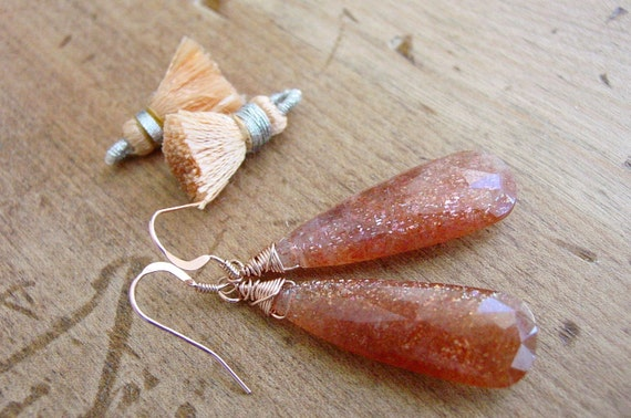 Pear Shape Sunstone Rose Gold Dangle Earrings Wire Wrapped
