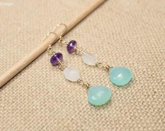 Aqua Chalcedony, Moonstone and Amethyst Earrings, Wire Wrap, Aqua Chalcedony Jewelry, Gemstone Earrings
