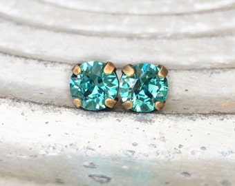 Turquoise Stud Earrings - Aqua Blue  - Stud Earrings - 8mm Round