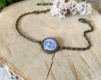 Ajna Chakra Bracelet, Antique Bronze Bracelet, Glass Cabochon, Chain Bracelet