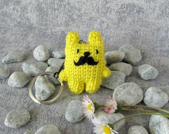 SALE Key Chain Bear, funny animal Charm with Mustache, Mini Pet Toy with Keyring, lemon yellow Teddy Bear, cute gift keyring fob pocket