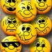 """Smiley Emoticons Emoji - 1.629"""" & 1.313"""" circles - Digital Downloads for 1.25"""" and 1"""" Buttons - Printable Digital Collage Sheets CG-970"""