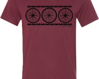 Bicycle T-shirt-CHAIN REACTION-Road Bike tshirt, Mountain Bike T shirt,Bicycle wheels,Bicycle tee,bike gift, cycling gift, men's gift