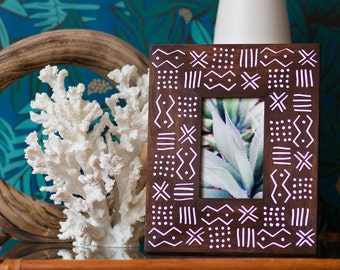 African Style Picture Frame 4x6 | African Decor | Brown Frame