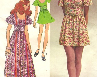 Vintage Mini & Maxi Dress Womens Size 10 Sewing Pattern 1970s