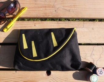 Black Evening Clutch Bag, handmade purse with yellow and black glitter details. Little Black bag.
