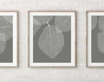 Gallery Wall Gray Leaf Print Set of Three Prints