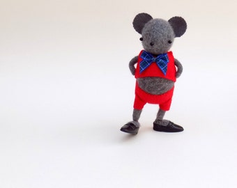 Cashmere Mouse  -  Handmade plush mouse wearing red felt suit and plastic shoes.