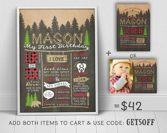 1st birthday chalkboard - Lumberjack first birthday poster to match Little bear invitation (sold separately) - u print chalkboard sign