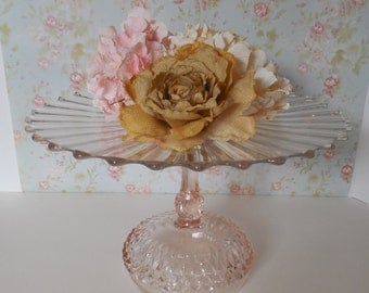 Pink Cake Stand / Wedding Cake Stand / 14 inch Cake Stand / Glass Cake Stand / Blush Pink Wedding / Baby shower