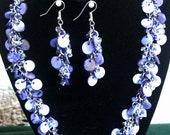 Handmade Beaded Jewelry - Blue Beaded Earrings - Mother of Pearl Earrings - Blue Chain maille Earrings - Shaggy Loop Shell Earrings