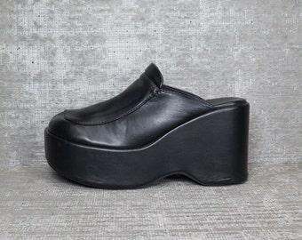 Vtg Black Leather Platform Mules Clogs 6.5 37
