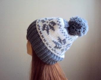 Knit Hat with Pom Pom Snowflake Hat Fair Isle Knit Beanie Winter Hat