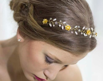 Bridal Pearl Hair Vine,Gold Hair Vine,Wedding Gold Tiara,Floral Hair Vine,Wedding Gold Cown,Wedding Hair Crown,Bridal Rose Headband,Halo
