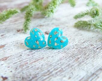 Turquoise heart stud earrings Christmas earrings Blue heart stud earrings Blue gold studs Surgical steel posts Teal earring Bridesmaid studs