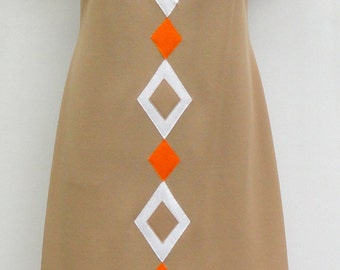 Vintage Mod Sheath Dress MED LGE, 1960s 1970 Toni Todd Day Dress Med Lrg Tan Orange White, Vintage 60s 70s Mod Day Dress Office Work Wear