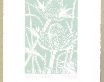 Blue Eryngium Seedhead Original Linocut Print
